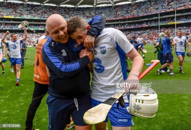Dublin Ireland 13 August 2017 Waterford manager Dererk McGrath celebrates with Shane Bennett after the GAA Hurling AllIreland Senior Championship...
