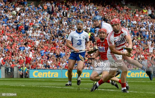 Dublin Ireland 13 August 2017 Waterford's Austin Gleeson centre looks on after scoring his side's third goal with teammate Michael Walsh and Cork's...