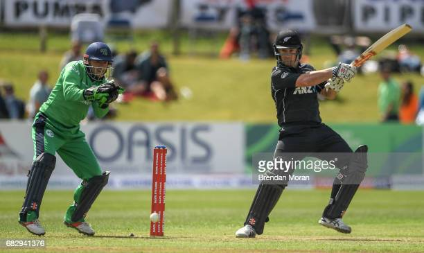 Dublin Ireland 14 May 2017 Neil Broom of New Zealand hits a boundary off George Dockrell of Ireland during the One Day International match between...