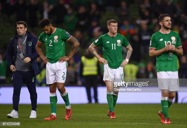 Dublin Ireland 14 November 2017 Republic of Ireland players from left Seamus Coleman Cyrus Christie James McClean and Robbie Brady following the FIFA...