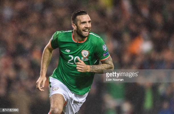 Dublin Ireland 14 November 2017 Shane Duffy of Republic of Ireland celebrates after scoring his side's first goal during the FIFA 2018 World Cup...