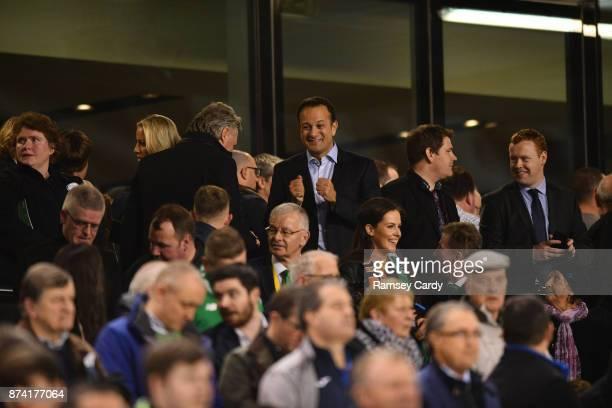 Dublin Ireland 14 November 2017 Taoiseach Leo Varadkar and John Delaney Chief Executive of the Football Association of Ireland prior to the FIFA 2018...