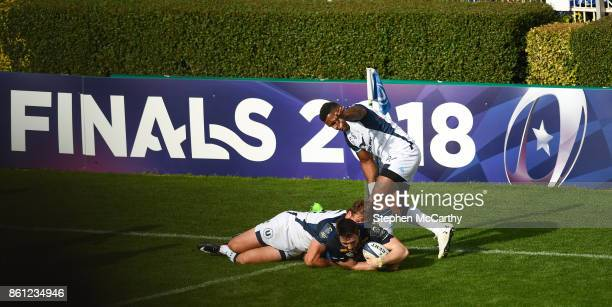 Dublin Ireland 14 October 2017 Barry Daly of Leinster goes over to score his side's fourth try during the European Rugby Champions Cup Pool 3 Round 1...