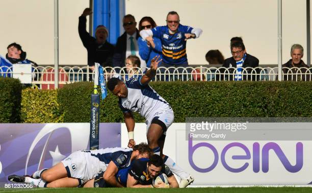 Dublin Ireland 14 October 2017 Barry Daly of Leinster scores his side's fourth try during the European Rugby Champions Cup Pool 3 Round 1 match...