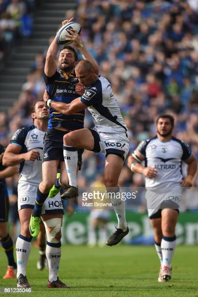 Dublin Ireland 14 October 2017 Barry Daly of Leinster takes the high ball from Ruan Pienaar of Montpellier during the European Rugby Champions Cup...