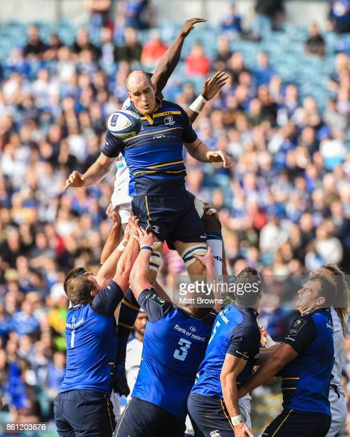 Dublin Ireland 14 October 2017 Devin Toner of Leinster takes the ball in the lineout against Yacouba Camara of Montpellier during the European Rugby...