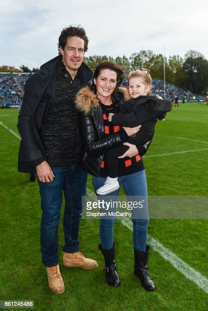 Dublin Ireland 14 October 2017 Former Leinster player Mike McCarthy with his wife Jessica and daughter Lola during the European Rugby Champions Cup...