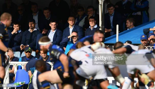 Dublin Ireland 14 October 2017 Injured Leinster players including Jonathan Sexton Rob Kearney Tom Daly and Garry Ringrose watch on during the...