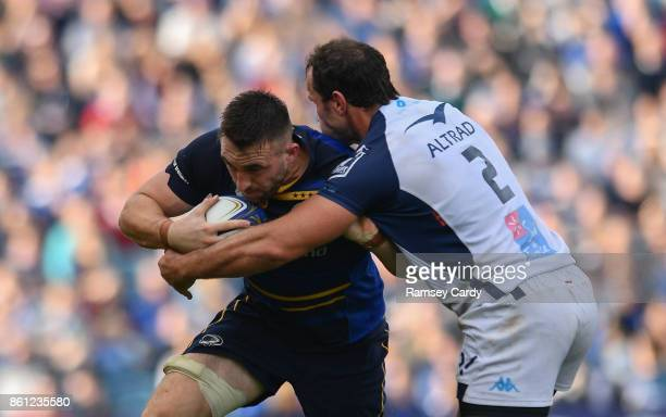 Dublin Ireland 14 October 2017 Jack Conan of Leinster is tackled by Bismarck Du Plessis of Montpellier during the European Rugby Champions Cup Pool 3...