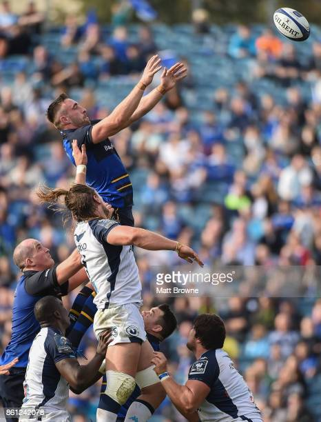 Dublin Ireland 14 October 2017 Jack Conan of Leinster takes the ball in the lineout against Jacques Du Plessis of Montpellier during the European...