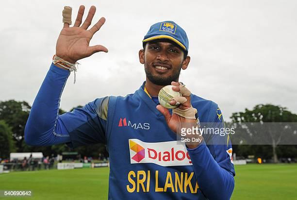 Dublin Ireland 16 June 2016 Dasun Shanaka of Sri Lanka celebrates his team's victory and taking five wickets himself during the One Day International...