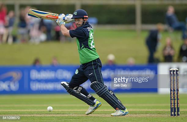 Dublin Ireland 16 June 2016 Ed Joyce of Ireland scores one run off a delivery from Farees Maharoof of Sri Lanka during the One Day International...