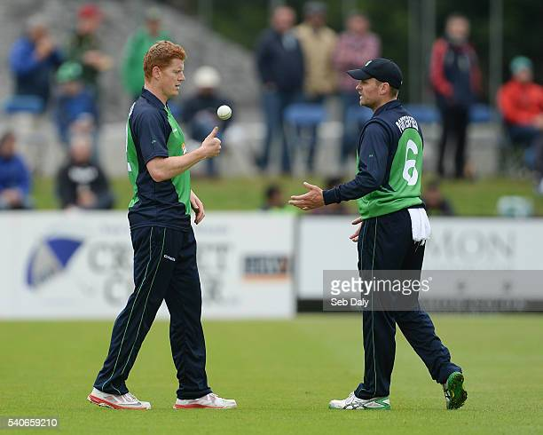 Dublin Ireland 16 June 2016 Ireland captain William Porterfield right in conversation with teammate Kevin OBrien during the One Day International...