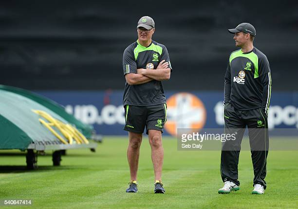 Dublin Ireland 16 June 2016 Ireland head coach John Bracewell left and captain William Porterfield inspect the pitch ahead of the One Day...