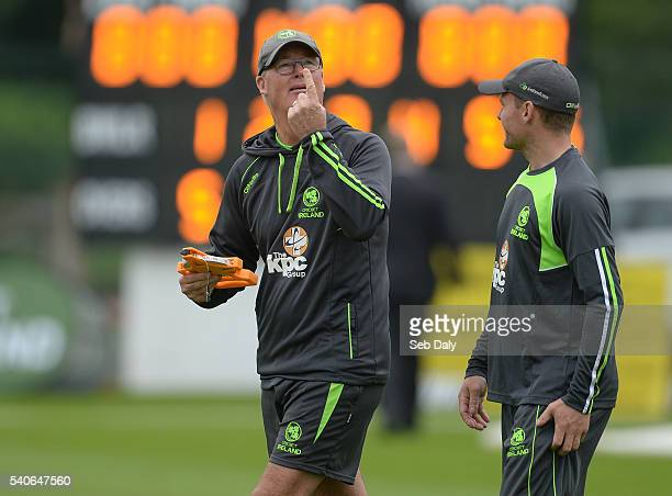Dublin Ireland 16 June 2016 Ireland head coach John Bracewell left and captain William Porterfield share a joke as they check the wind conditions...