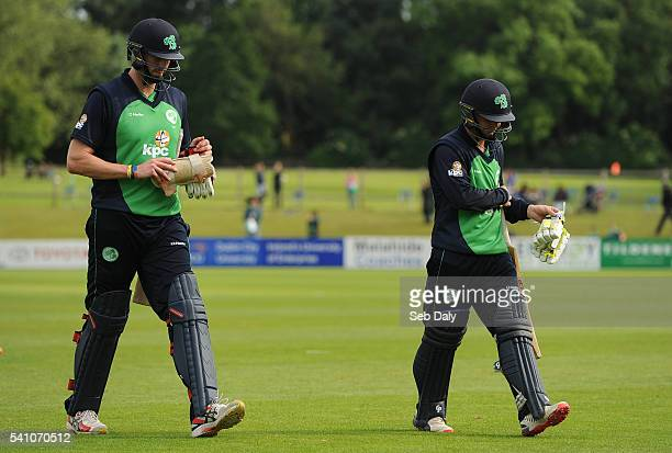 Dublin Ireland 16 June 2016 Ireland's Boyd Rankin left and Andrew McBrine leave the field following their team's loss during the One Day...