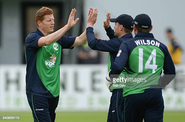 Dublin Ireland 16 June 2016 Kevin OBrien left of Ireland is congratulated by team captain William Porterfield second right after bowling and catching...