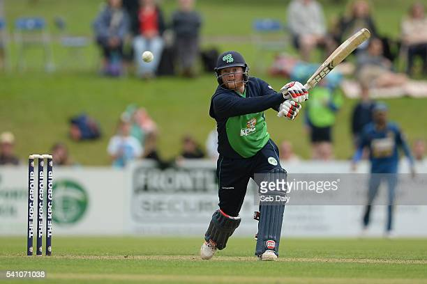 Dublin Ireland 16 June 2016 Stuart Poynter of Ireland scores two runs off a delivery from Farees Maharoof of Sri Lanka during the One Day...
