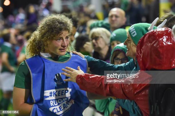 Dublin Ireland 17 August 2017 A dejected Jenny Murphy of Ireland with supporters after the 2017 Women's Rugby World Cup Pool C match between France...