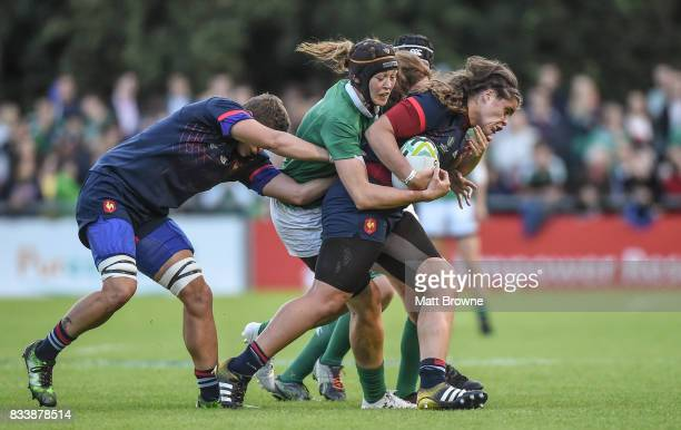 Dublin Ireland 17 August 2017 Annaelle Dashaye of France is tackled by Marie Louise Reilly of Ireland during the 2017 Women's Rugby World Cup Pool C...