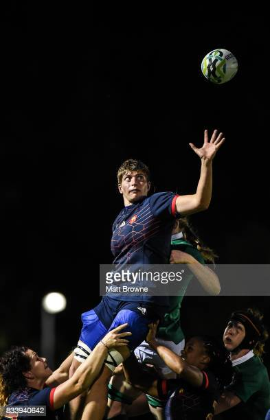 Dublin Ireland 17 August 2017 Audrey Forlani of France takes the ball in the lineout against Ireland during the 2017 Women's Rugby World Cup Pool C...