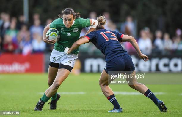 Dublin Ireland 17 August 2017 Hannah Tyrrell of Ireland is tackled by Caroline Ladagnous of France during the 2017 Women's Rugby World Cup Pool C...