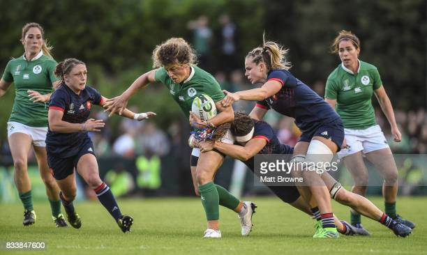 Dublin Ireland 17 August 2017 Jenny Murphy of Ireland is tackled by from left Gaelle Mignot Lenaig Corson and Romane Menager of France during the...