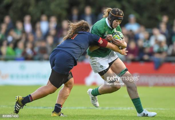 Dublin Ireland 17 August 2017 Marie Louise Reilly of Ireland is tackled by Annaelle Deshaye of France during the 2017 Women's Rugby World Cup Pool C...