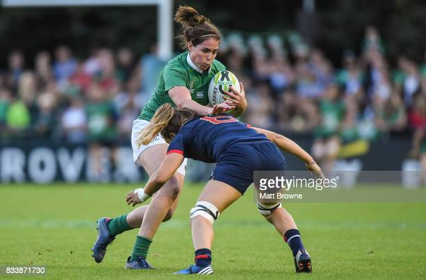 Dublin Ireland 17 August 2017 Nora Stapleton of Ireland is tackled by Marjorie Mayans of France during the 2017 Women's Rugby World Cup Pool C match...