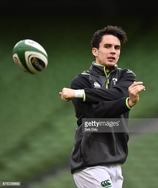 Dublin Ireland 17 November 2017 Joey Carbery during the Ireland rugby captain's run at the Aviva Stadium in Dublin