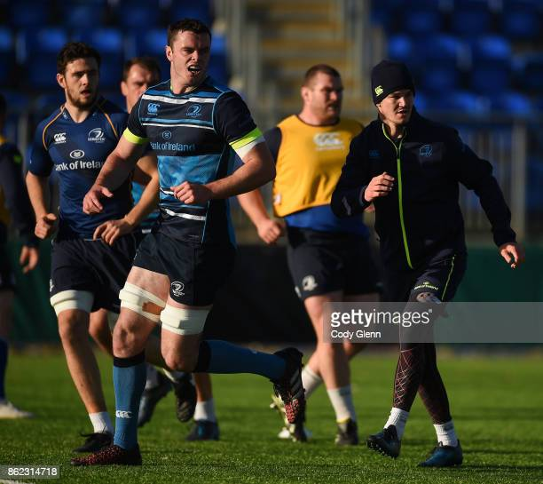 Dublin Ireland 17 October 2017 James Ryan left and Jonathan Sexton of Leinster during Leinster Rugby Squad Training at Donnybrook Stadium in Dublin
