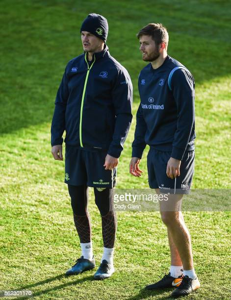 Dublin Ireland 17 October 2017 Jonathan Sexton left and Ross Byrne of Leinster during Leinster Rugby Squad Training at Donnybrook Stadium in Dublin