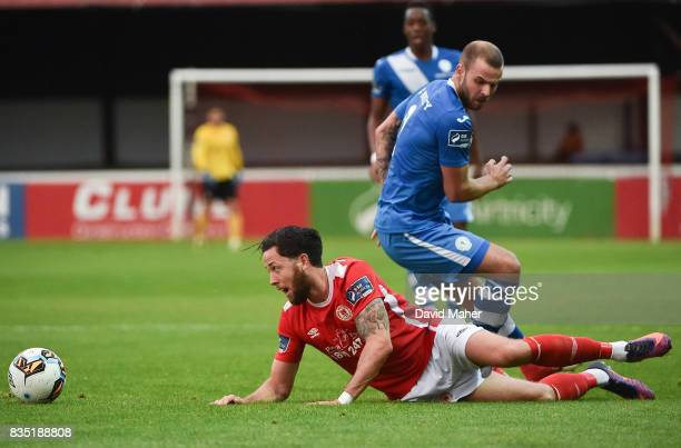 Dublin Ireland 18 August 2017 Billy Dennehy of St Patrick's Athletic in action against Damien McNulty of Finn Harps during the SSE Airtricity League...