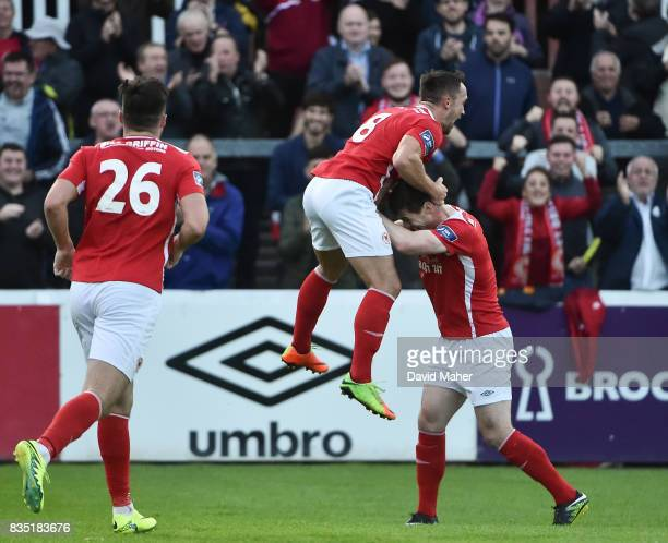 Dublin Ireland 18 August 2017 Graham Kelly left of St Patrick's Athletic celebrates after scoring his side's first goal with teammate Michael Barker...
