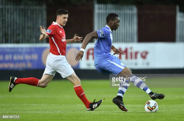 Dublin Ireland 18 August 2017 Ibrahim Keita of Finn Harps in action against Owen Garvan of St Patrick's Athletic during the SSE Airtricity League...