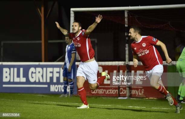 Dublin Ireland 18 August 2017 Kurtis Byrne of St Patrick's Athletic celebrates after scoring his side's second goal during the SSE Airtricity League...
