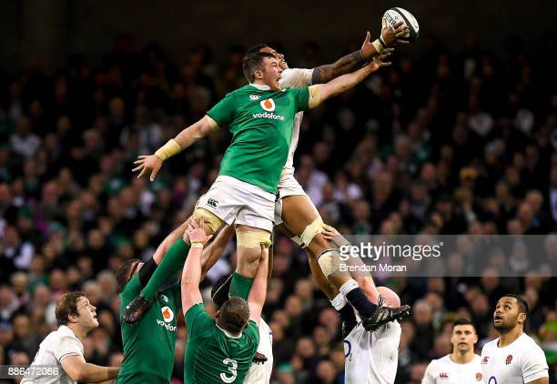 Dublin Ireland 18 March 2017 Courtney Lawes of England wins a lineout from Peter O'Mahony of Ireland during the RBS Six Nations Rugby Championship...