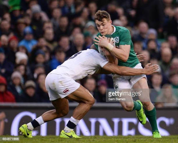 Dublin Ireland 18 March 2017 Garry Ringrose of Ireland in action against Jonathan Joseph of England during the RBS Six Nations Rugby Championship...