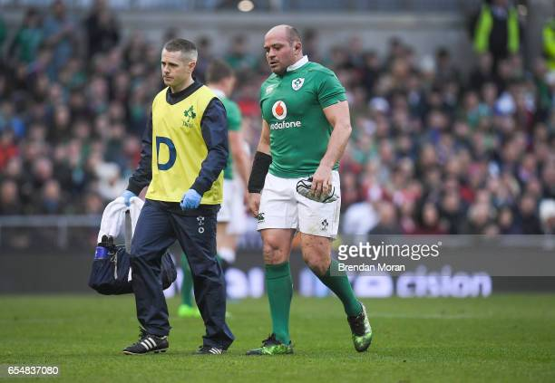Dublin Ireland 18 March 2017 Ireland captain Rory Best accompanied by Dr Ciaran Cosgrave leaves the pitch during the RBS Six Nations Rugby...