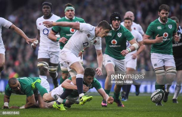 Dublin Ireland 18 March 2017 Owen Farrell of England is tackled by Garry Ringrose of Ireland during the RBS Six Nations Rugby Championship match...