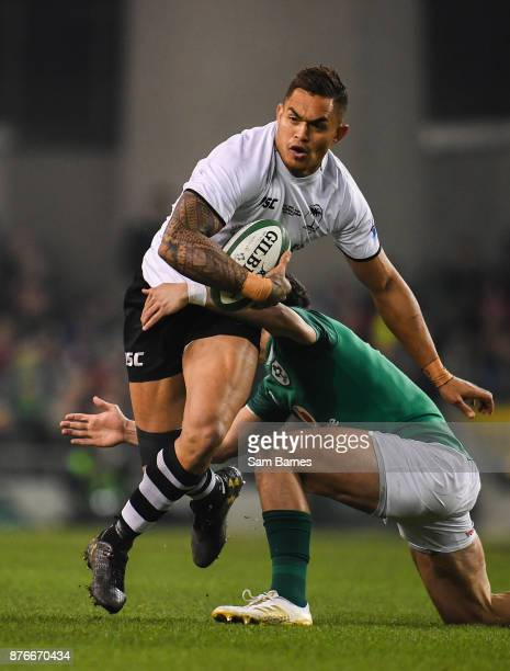 Dublin Ireland 18 November 2017 Jale Vatubua of Fiji in action against Joey Carbery of Ireland during the Guinness Series International match between...