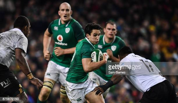 Dublin Ireland 18 November 2017 Joey Carbery of Ireland is tackled by Peni Ravai of Fiji during the Guinness Series International match between...