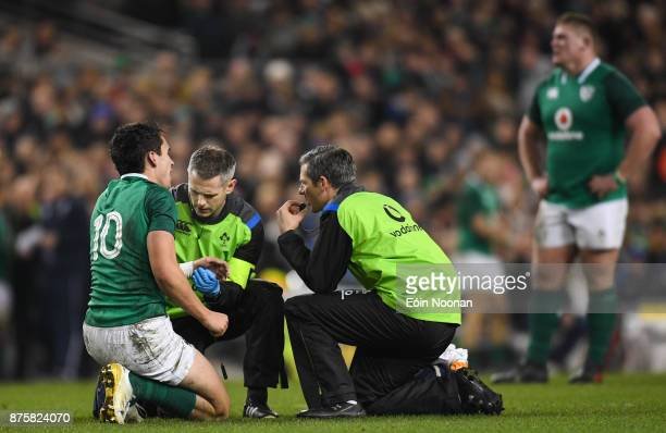 Dublin Ireland 18 November 2017 Joey Carbery of Ireland receives treatment by the team doctor during the Guinness Series International match between...