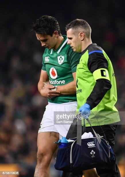 Dublin Ireland 18 November 2017 Joey Carbery of Ireland receives treatment during the Guinness Series International match between Ireland and Fiji at...
