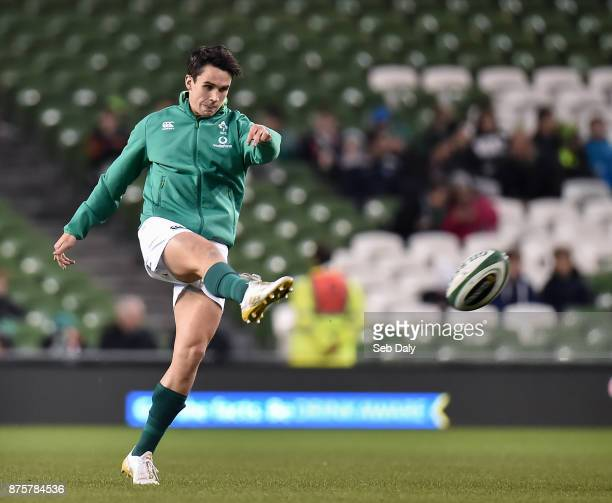 Dublin Ireland 18 November 2017 Joey Carbery of Ireland warmsup prior to the Guinness Series International match between Ireland and Fiji at the...