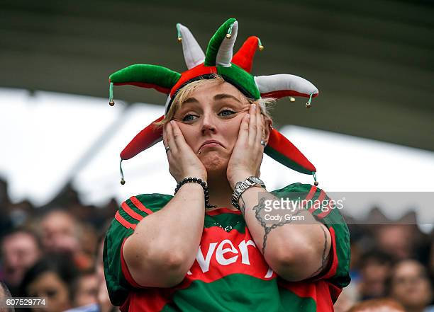 Dublin Ireland 18 September 2016 A Mayo supporter reacts to Dublin's second firsthalf goal during the GAA Football AllIreland Senior Championship...
