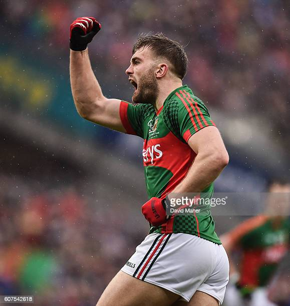 Dublin Ireland 18 September 2016 Aidan O'Shea of Mayo celebrates after his teammate Cillian O'Connor scored their side's equalising point during the...