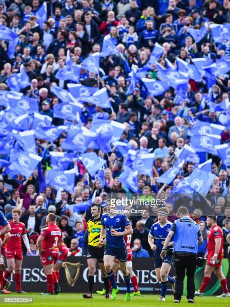 Dublin Ireland 19 May 2017 Garry Ringrose of Leinster after scoring his side's first try during the Guinness PRO12 SemiFinal match between Leinster...
