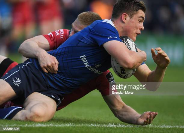 Dublin Ireland 19 May 2017 Garry Ringrose of Leinster goes over to score his side's first try during the Guinness PRO12 SemiFinal match between...