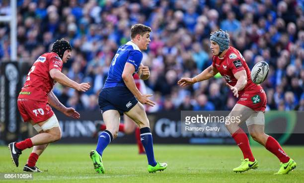 Dublin Ireland 19 May 2017 Garry Ringrose of Leinster in action against James Davies left and Jonathan Davies of Scarlets during the Guinness PRO12...